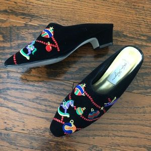 Embroidered Holiday Mules - Like new